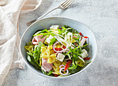 Pasta salad with cheese and ham
