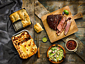 Smoked barbecue beef, chilli sauce, brazilian slaw, lasagne, Focaccia with wild garlic pesto