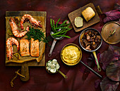 Beef Bourguignon, vegetable mash, hot smoked salmon with prawns, potato salad