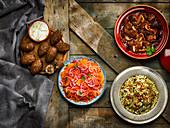 Lamb tagine, rice and lentil pilaf, lamb kibbeh, carrots salad