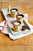 chocolate chop cookie 'shot glasses' filled with panna cotta