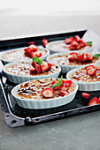 Baked rice pudding with strawberries