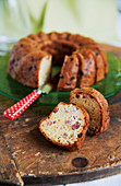 Savoury Bundt cake made with ham, Emmental cheese and white wine