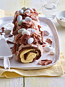 Chocolate Swiss roll with eggnog cream for Easter