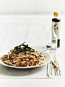 Yaki udon with mushrooms