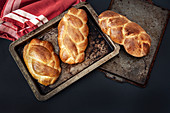 High Angle View of Braided Challah Breads
