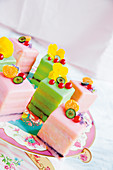Brightly coloured petit fours
