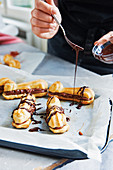 Eclairs with chilli and chocolate cream