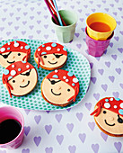 Mini pirate Amerikaner (soft, sponge cake-like shortbread) a children's birthday party