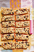 Homemade granola bars with cranberries