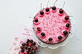 Pink Black Forest cake
