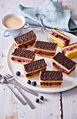 Blueberry and chocolate slices