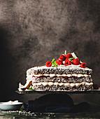 Lamington-Torte mit Himbeeren