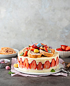 Strawberry quark cake with Swiss roll for Easter