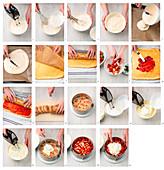 Erdbeer-Quark-Torte mit Biskuitrollen zubereiten