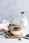 Joghurt mit Müsli und Blaubeeren