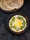 Indian flatbreads with cods roe