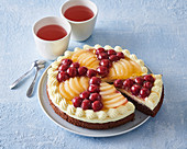 Cake with pudding cream and compoted fruit