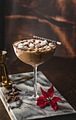 Chococolate martini with mini marshmallows