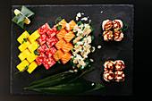 Japanese sushi set with soy sauce