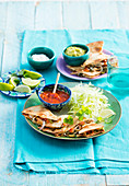 Quesadillas with cabbage salad and salsa