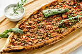 Turkish pide with meat