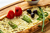 Turkish pide with sheep's cheese