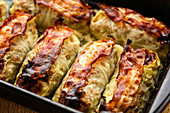 Stuffed cabbage rolls with bacon