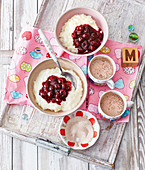 Rice pudding with sour cherries