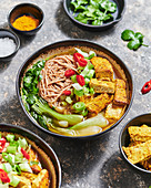 Asian tofu noodle bowl