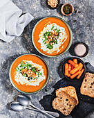 Carrot and coriander soup with roasted bread
