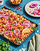 Cauliflower, chickpea and rice tray