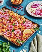 Cauliflower, chickpea and rice tray