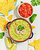 Mexican Guacamole, salsa and corn chips