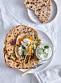 Arabic pita bread with tzatziki