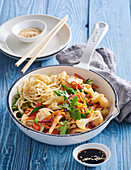 Asian style vegetables mixture with pasta