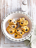 Carrot pastries with damson cheese