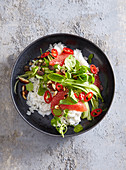 Coconut rice with cucumber and grapefruit