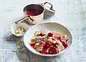 Empiror s pancakes with raspberries