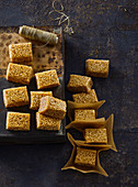 Honey toffee candies with sesame