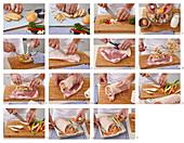 Bruststückrolle vom Schwein mit Gemüse zubereiten