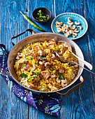 Indian saffron rice with chicken and cashew nuts