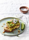 Egg and herbs omelet on crispy bread
