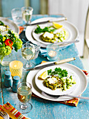 Courgette fritters with dill and cucumber sauce