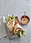 Pita bread wraps with chicken