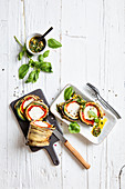 Vegetable roulade with goat's cream cheese and parsley oil