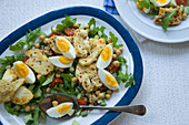 Halloumi and chickpea salad with boiled eggs
