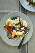 Warm egg and roast vegetable salad