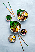 Ramen with pak choy and boiled eggs (Japan)