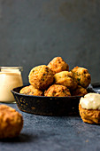 Cheese croquettes with cheese sauce
